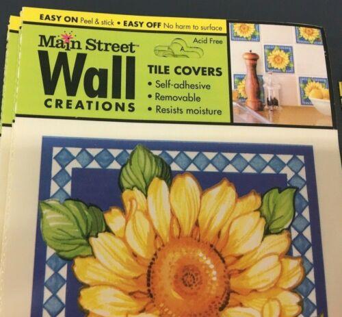 8 Tile Covers ~ SUNFLOWER Ladybug YELLOW BLUE ~ peel /& stick