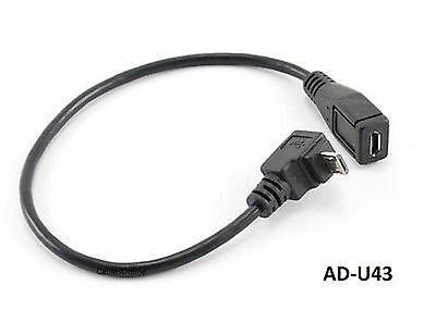"""9"""" USB Micro-B Male Right Angle (Down Position) to Female Extension Cable AD-U43"""