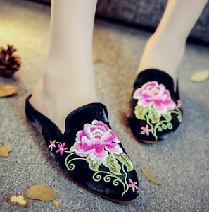 Womens National Chinese Embroidered Casual Slip On Loafer Slipper Floral Shoes