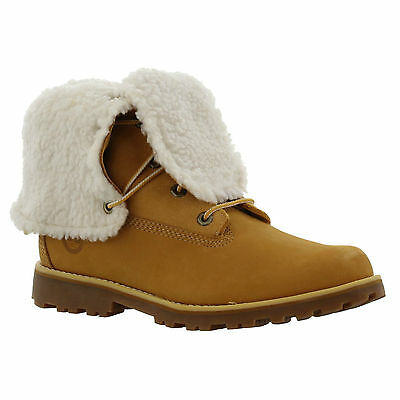 Timberland 6 Inch Womens Kids Wheat Warm Fur Lined Waterproof Boots  Size 4-6.5