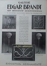 PUBLICITE EDGAR BRANDT FER FORGE LAMPE LUSTRE DE 1926 FRENCH AD PUB ART DECO