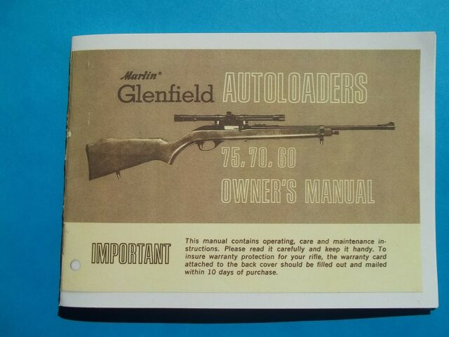 MARLIN GLENFIELD 22 LR MODEL 75, 70, 60 SEMI-AUTO OWNERS MANUAL OLD ...