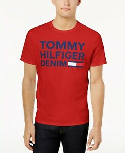873db9bf Details about $116 TOMMY HILFIGER Men's RED BLUE T-SHIRT LOGO GRAPHIC  CREW-NECK SHORT-SLEEVE L