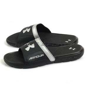 471f2ef43d6 Under Armour UA Playmaker VI Black Silver Sports Sandals Slippers ...