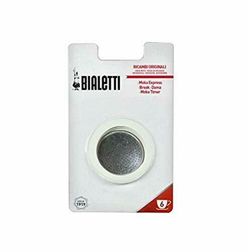 Bialetti Moka Express 6 Cup Replacement Filter and 3 Gaskets  White
