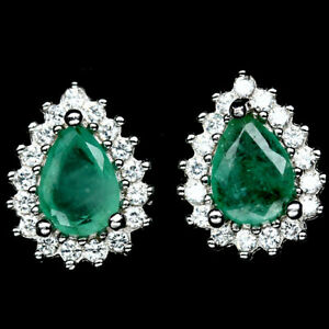 NATURAL-GREEN-EMERALD-RED-RUBY-amp-WHITE-CZ-EARRINGS-STUD-925-STERLING-SILVER