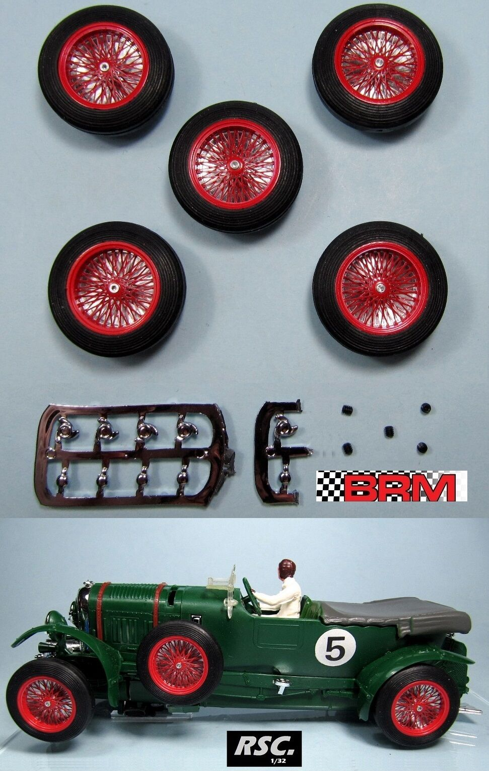 BRM 23  5X RED WIRE WHEELS 25,5 x 7mm SCALEXTRIC BENTLEY SCRATCH BUILDING