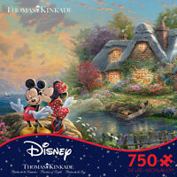 Thomas Kinkade Mickey And Minnie Sweetheart Cove 750 Ceaco Puzzle Disney