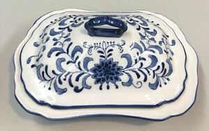 Blue Palm Brand Blue White Hand Painted Porcelain Rectangular Serving Tray W Lid