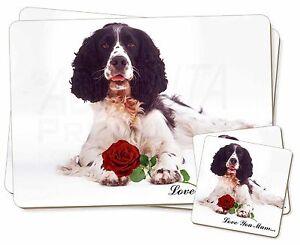 Springer-avec-Rose-039-Love-You-Mum-039-Simple-2x-Set-de-table-2x-Sous-verre-Se