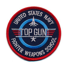 USA TOP GUN Navy Fighter Weapon School 80 mm US Patch Aufnäher Aufbügler 0502 X