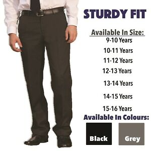 Boys-Sturdy-Generous-Fit-School-Trousers-Age-9-16-Plus-Size-Half-Elastic