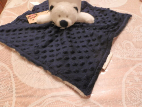 BLANKET BEYOND SECURITY BEAR NAVY DOTS EMBOSSED POPCORN WHITE HEAD BIG NOSE EYES