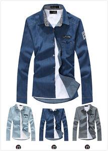 Men-039-s-New-Casual-Stylish-Jean-Denim-Slim-Fit-Long-Sleeve-Shirt-3-Colors-010