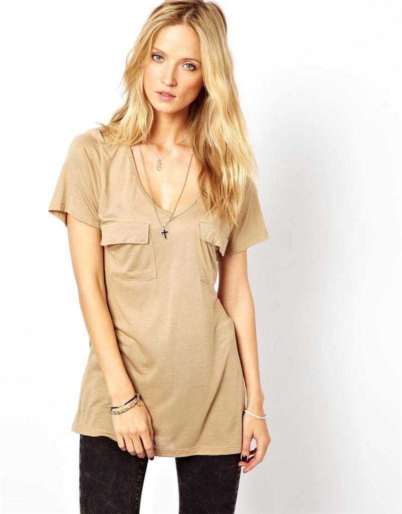 LNA Safari Tee Sable Beige braun Encolure Dégagée Haut Chemise Jersey deux poches