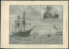 1889 Antique Print NAVAL REVIEW SPITHEAD Ships Navy (295)