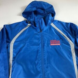 Office-Depot-Foundation-Windbreaker-Jacket-Mens-Medium-Reflective-Hooded-Running