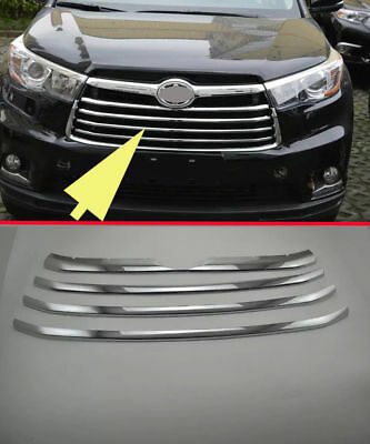Chrome Front Grille Around Trim 4 pcs Fit For Toyota Highlander 2015+ New