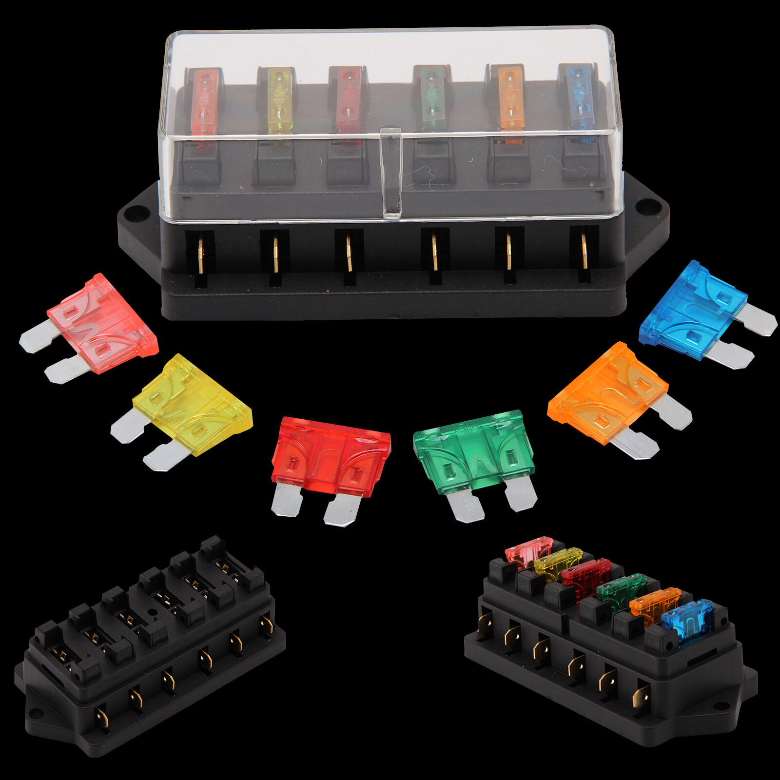 12v 24v Universal Car 6 Way Circuit Standard Blade Fuse Box Holder Ab