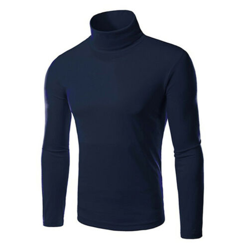 Mens Casual Warm Roll Turtle Neck Pullover Knitted Jumper Sweater Slim Fit Tops