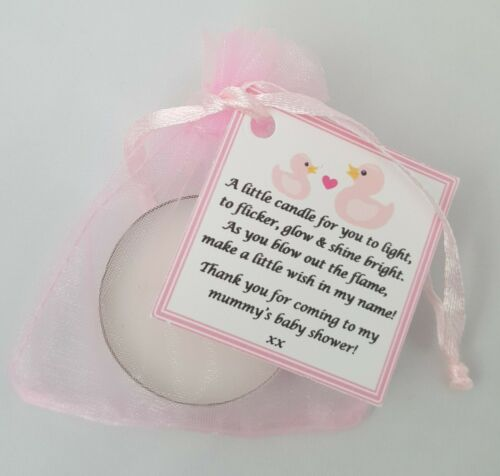 Baby shower scented tealight candle favours 10 pack PINK THEME GIFT BOX GIRL