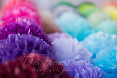 12 tissue paper pompoms set - 3 sizes - wedding party decorations - multi color