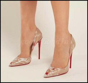 Women-Floral-Patent-Leather-High-Heel-Pumps-Pointy-Toe-Slip-On-Stiletto-OL-Shoes