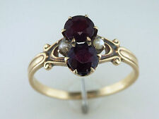Vintage Antique 1.20ct Garnet & Pearl 14K Yellow Gold Victorian Cocktail Ring