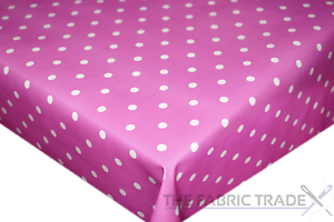 Small Spots Polka Dot Pink PVC Tablecloth Vinyl Oilcloth Kitchen Dining Table