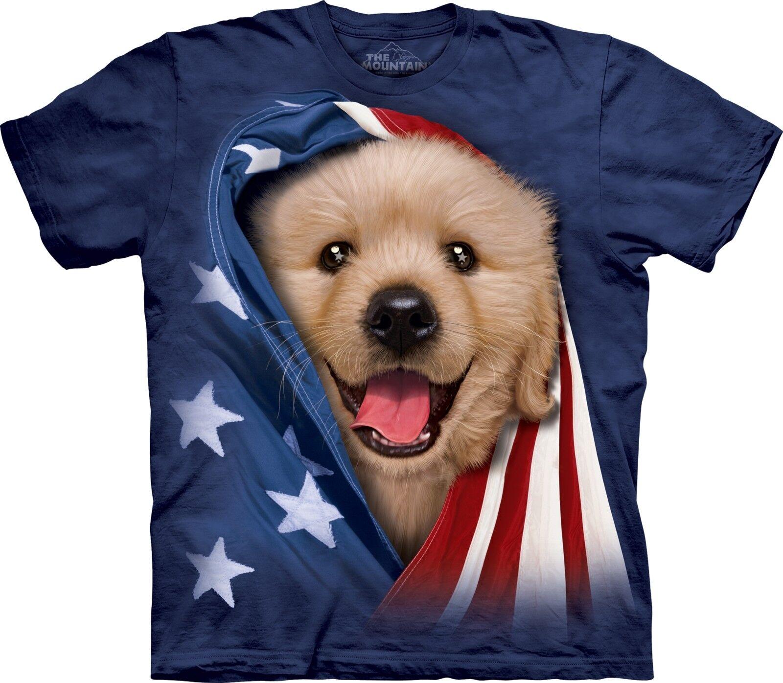 The Mountain Unisex Adult Patriotic golden Pup Pet T Shirt