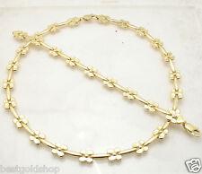Plumeria Stampato Bracelet Necklace Set 14K Yellow Gold Clad Silver 925
