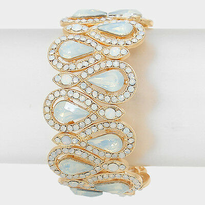 Bridal Formal Pageant Opal White Crystal Gold Stretch Bangle Fashion Bracelet
