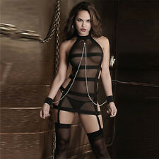Womens Bandage Lingerie Mesh Black G-string Backless Underwear Babydoll Coverall