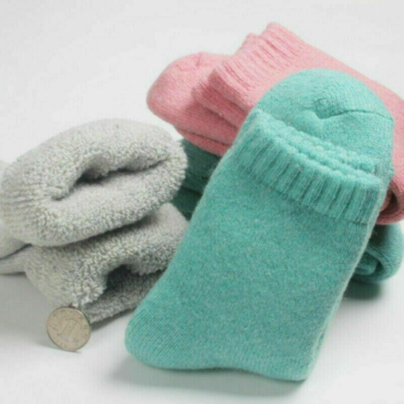 Damen Sherpa-Fleece Futter Socken Wadenhoch Länge Dicke Thermo Außen Warm