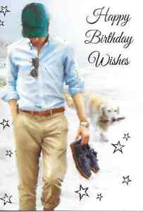 Image Is Loading HAPPY BIRTHDAY WISHES CARD MAN TEENAGER MALE WALKING