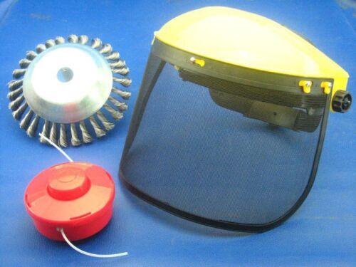 Unkrautbürste mit Klappvisier+Spule für Fuxtec Motorsense MFS520 2in1