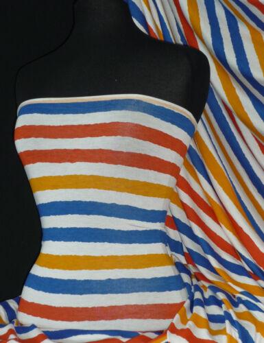 Nautical Sailor Horizontal Stripe viscose cotton Jersey Stretch Fabric FREE P/&P