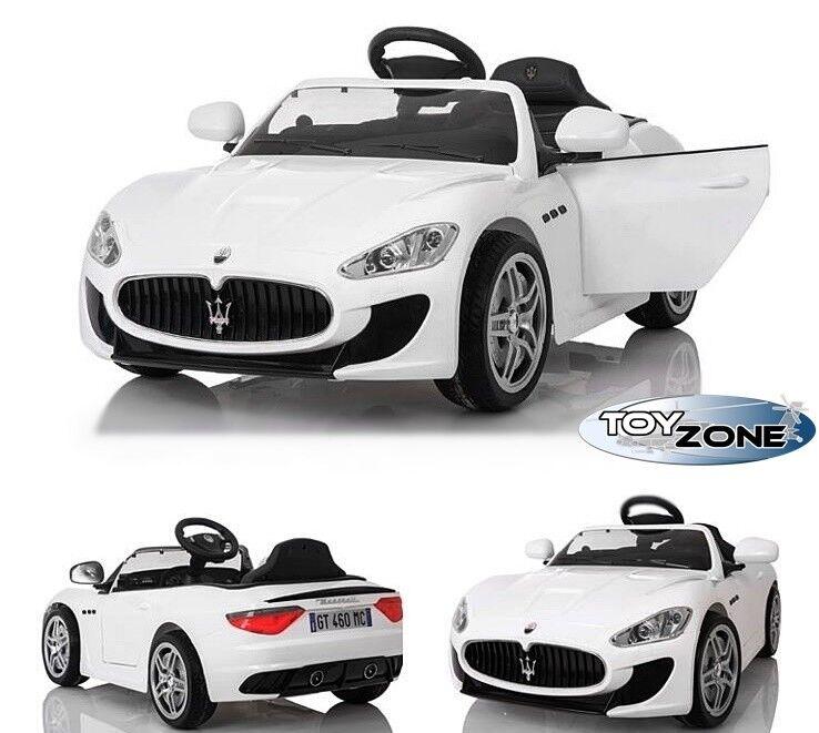 Kinderfahrzeug 12V Kinder Elektro Auto Maserati Gran Turismo MP3 USB EVA weiß