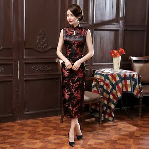 Black-red-Chinese-Sleeveless-Women-039-s-Silk-Satin-Long-Dress-Cheong-sam-S-3XL
