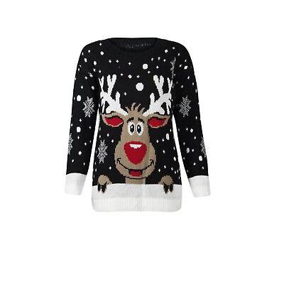 Ladies Rudolph on Wall Novelty Christmas Xmas Jumper Sweater UK Plus Sizes