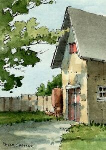 034-Shadowed-Shed-034-ACEO-2-5-034-x3-5-034-Original-Watercolor-Peter-Sheeler-fall-barn-farm