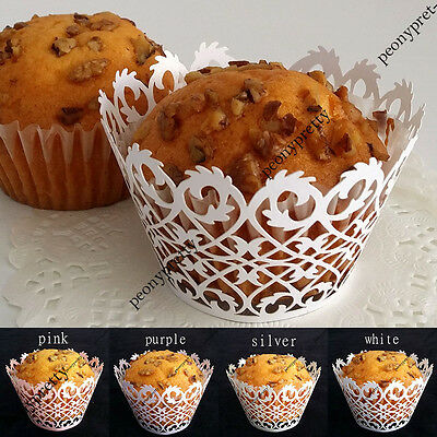 12x laser cut cupcake wrappers decor wedding birthday party baby shower wrap