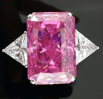 100ct Pink emerald cut triangle Big Cz Cocktail ring 925 Sterling silver sparkly