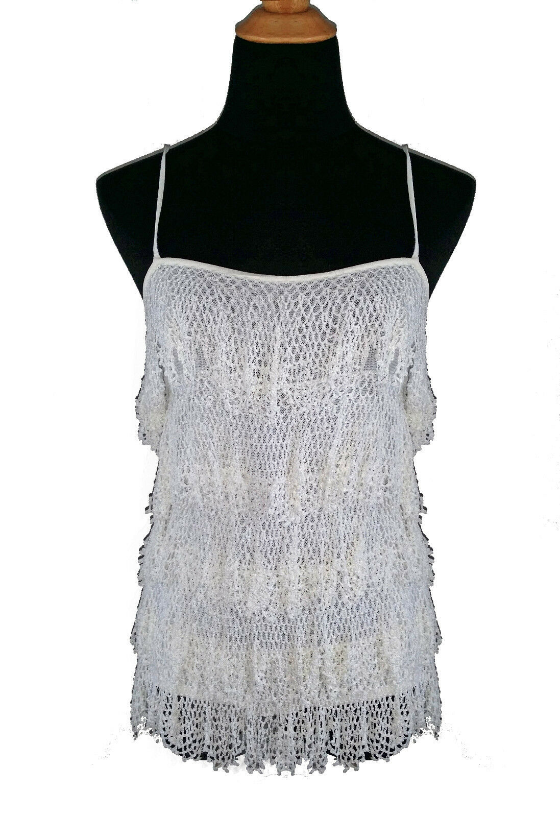 Dolce & Gabbana Stretch Weiß Knit Top with Crochet Lace Ruffles s44