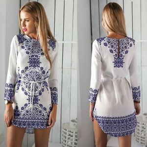 Women Ladies Casual Floral Long Sleeve Dress Outfit Clothes Blue and ... 55d49d998