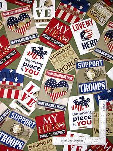Patriotic-Love-My-Hero-Troops-USA-Cotton-Fabric-Quilting-Treasures-24783-G-Yard