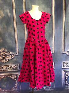 66715cbb364 Vintage 80s Jem Holograms Star Print Hot Pink Shirt Dress SMALL Full ...