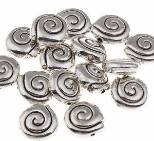 25-SPIRALE-Perlen-Metall-Spacer-SCHEIBE-Metallperlen-ALT-SILBER-BASTELN-8mm-F112