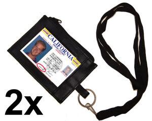 Set-of-2-Leather-ID-CARD-Badge-Neck-Holder-Lanyard-Wallet-Zip-Key-Ring-Strap