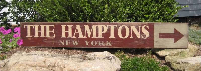 The Hamptons, Nuovo Sign York - Hand Painted Wooden Sign Nuovo HUGE 95c733